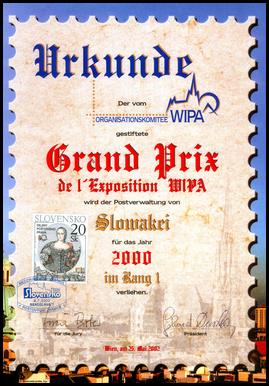 Dejiny poštového práva - Grand Prix WIPA za rok 2000