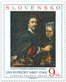 Art - Ján Kupecký: Self-portrait with Portrait of his Wife