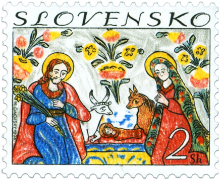 Christmas Slovak Traditional Painting on Glass: Nativity