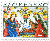 Christmas Slovak Traditional Painting on Glass: Nativity