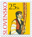 Slovak Folk Handicraft - Shepherd´s Long Pipe  (Definitive stamp)
