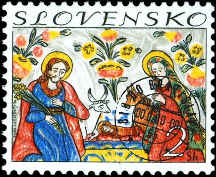 Vianoce - Ľudová maľba malovaná na skle