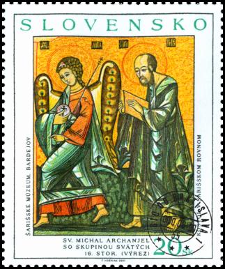 Ikona z východného Slovenska: Sv. Michal archanjel so skupinou svätých