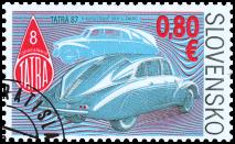 Postage stamp Veteran Motor Cars – Aerodynamic Tatra 87