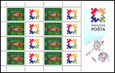 Tlačový list známky s personalizovaným kupónom - Vianočná pošta