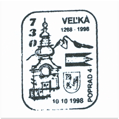 """""""730. Výročie prvej písomnej zmienky o Veľkej 1268-1998"""""""