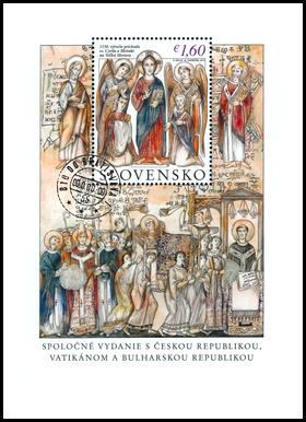 1150. výročie príchodu sv. Cyrila a Metoda na Veľkú Moravu. Spoločné vydanie s Českou republikou, Vatikánom a Bulharskom