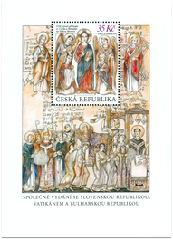 The 1150th Anniversary of the Arrival of St. Cyril and Methodius to Great Moravia. Isuue of Czech Republic.