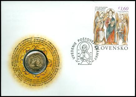 Numizmatická obálka: 1150. výročie príchodu sv. Cyrila a Metoda na Veľkú Moravu