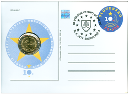 Numismatic Postal Card: The Accession of Slovak Republic to the EU - 10th Anniversary