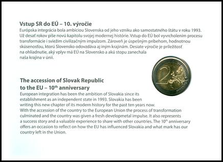 Numizmatický poštový lístok: Vstup SR do EÚ - 10. výročie