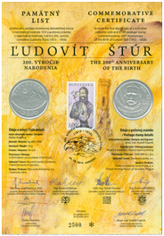 Numismatic Commemorative Sheet: Ľudovít Štúr