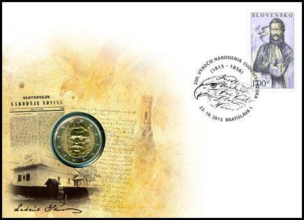 Numismatic Cover: 200th Birth Anniversary of Ľudovít Štúr