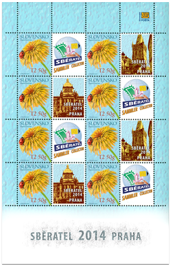 Tlačový list známky s personalizovaným kupónom - Sběratel 2014