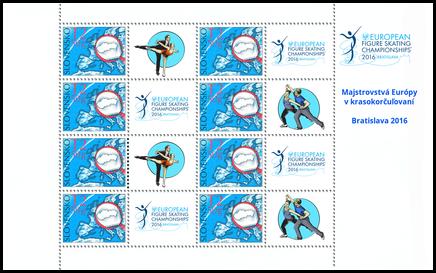 Tlačový list známky s personalizovaným kupónom - ME v krasokorčuľovaní