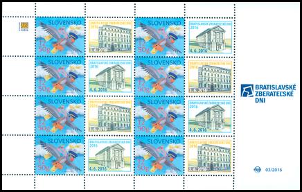Tlačový list známky s personalizovaným kupónom - Bratislavské zberateľské dni 2016
