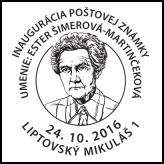 Inaugurácia poštovej známky - Umenie: Ester Šimerová-Martinčeková