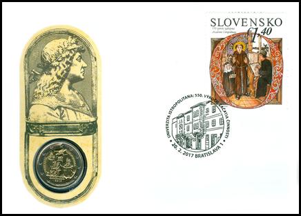 Numizmatická obálka: Univerzita Istropolitana: 550. výročie začatia činnosti