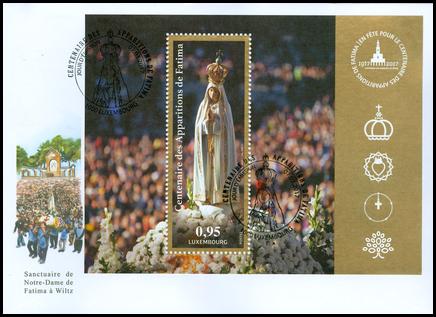 100. výročie zjavenia Panny Márie vo Fatime: FDC Luxemburské vydanie