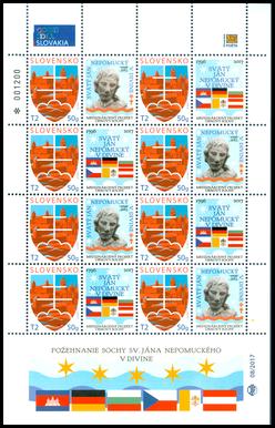 Tlačový list známky s personalizovaným kupónom - Ján Nepomucký