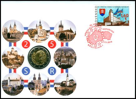 Numizmatická obálka: 25. výročie vzniku Slovenskej republiky