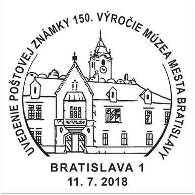Uvedenie poštovej známky 150 rokov múzea mesta Bratislava