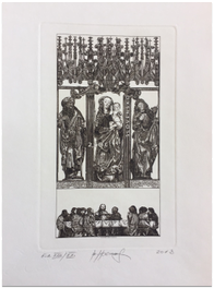 Grafický list: Oltár sv. Jakuba v Chráme sv. Jakuba v Levoči