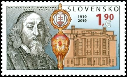 斯洛伐克6月27日发行夸美纽斯大学100周年邮票