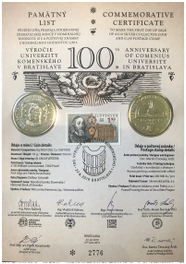Special Commemorative Sheet: 100th Anniversary of Comenius University