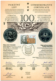 Numismatic Commemorative Sheet: 100th Anniversary of Comenius University