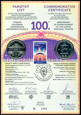 Numizmatický pamätný list: 100. výročie založenia SND