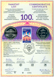 Numismatic Commemorative Sheet: The 100th Anniversary of the Establishment of the Slovak National Theatre