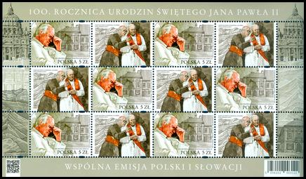 Spoločné vydanie s Poľskom: 100. výročie narodenia pápeža Jána Pavla II. (1920 – 2005)