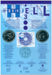 Numismatic Commemorative Sheet:  Maximilián Hell