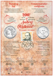 Numismatic Commemorative Sheet: Personalities: Andrej Sládkovič (1820 – 1872)