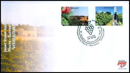 FDC - Spoločné vydanie s Maltou: Vinohradníctvo na Malte